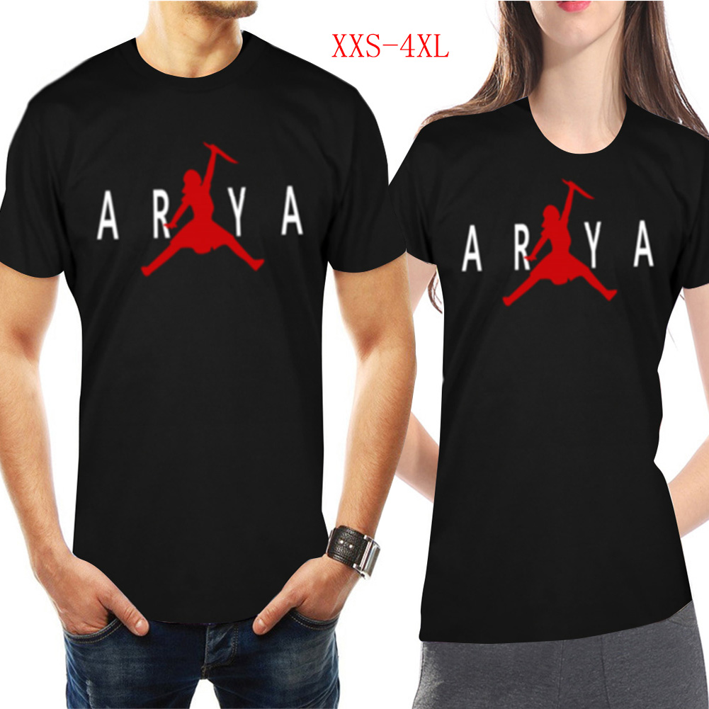 Men Women Casual Novelty Game of Thrones Arya Stark GOT Night King Jordan Printing Short Sleeve T-shirts  black_XXXXL