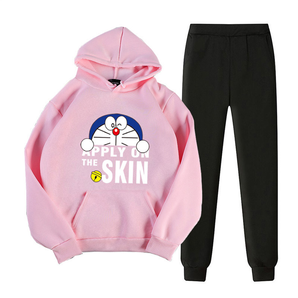 2Pcs/set Men Women Casual Suit Hoodie Sweatshirt + Pants Doraemon Cartoon Thicken Tracksuit Pink_XXL