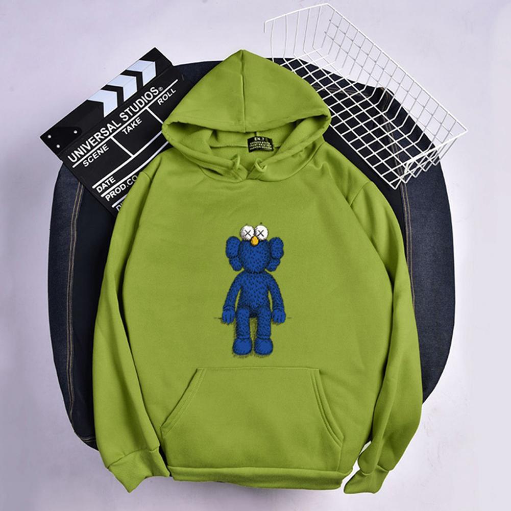 KAWS Men Women Hoodie Sweatshirt Cartoon Standing Doll Thicken Autumn Winter Loose Pullover Green_M