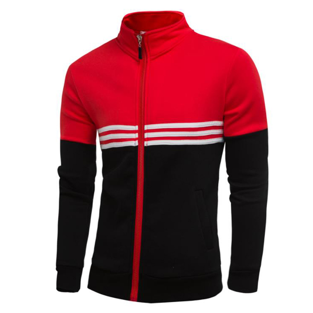 Men Fashion Coat Colour Matching Stand Collar Long SLeeve Jacket  red_2XL