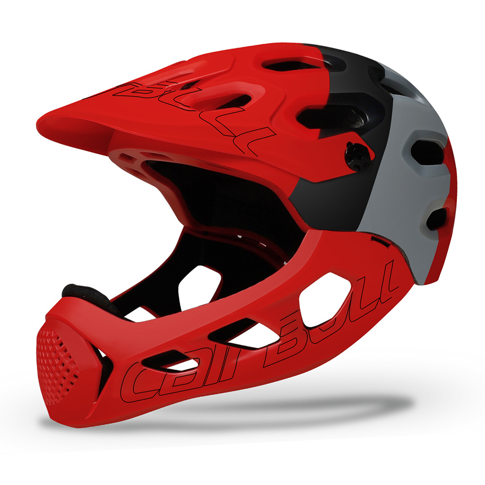 Cairbull ALLCROSS Mountain Cross-country Bicycle Full Face Helmet Extreme Sports Safety Helmet Black gray red_M/L (56-62CM)