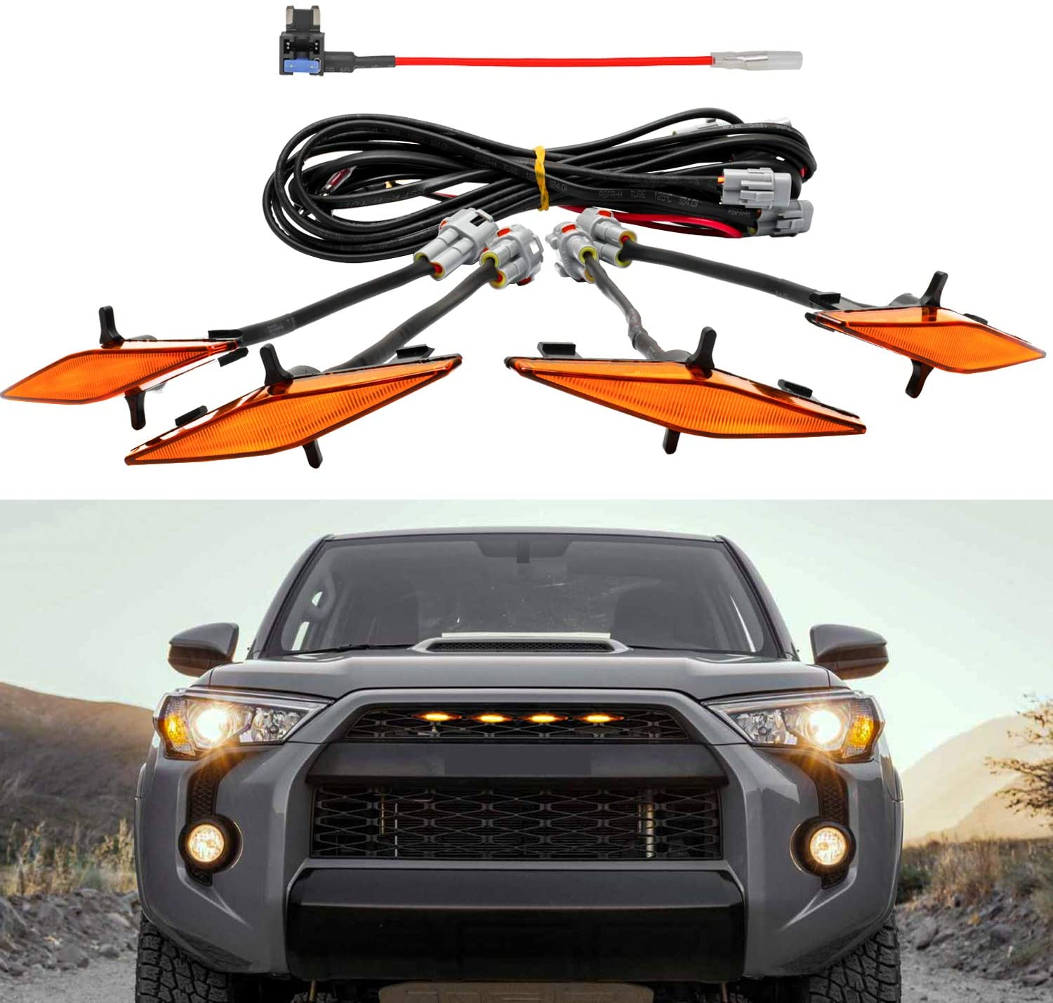 Front  Hood  Grille LED  Lights  Set Assy W/wire Harness For Automobile Car Modification amber