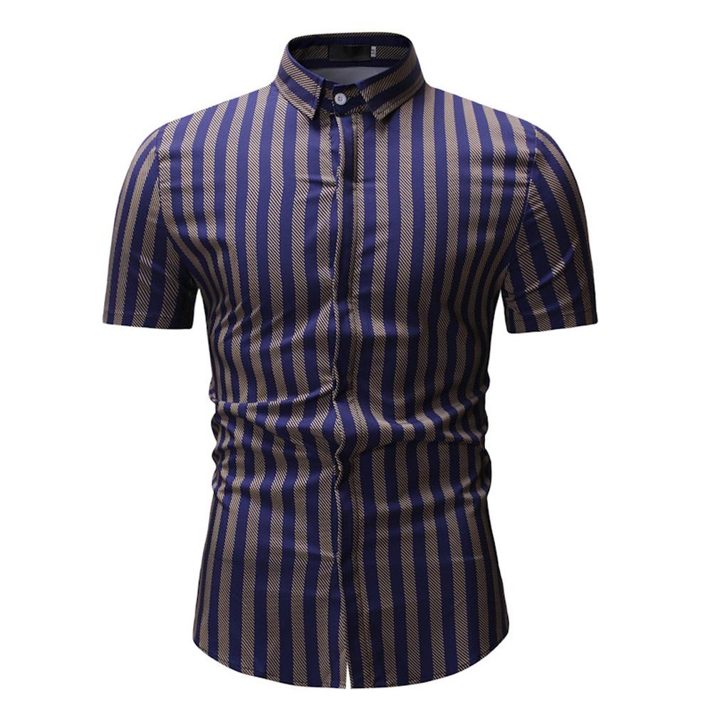 Men New Striped Casual Cotton Blend Short Sleeve Shirt Tops Yellow stripes_XL