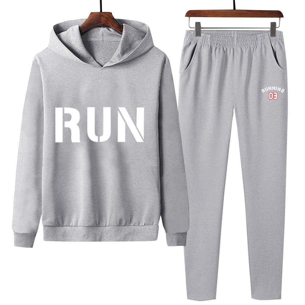 2Pcs/set Men Hoodie Sweatshirt Sports Pants Printing RUN Casual Sportswear Student Tracksuit Gray_L