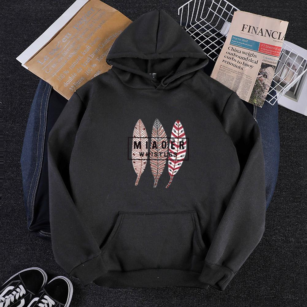 Men Women Hoodie Sweatshirt Three Leaves Thicken Velvet Autumn Winter Loose Pullover Black_XXXL