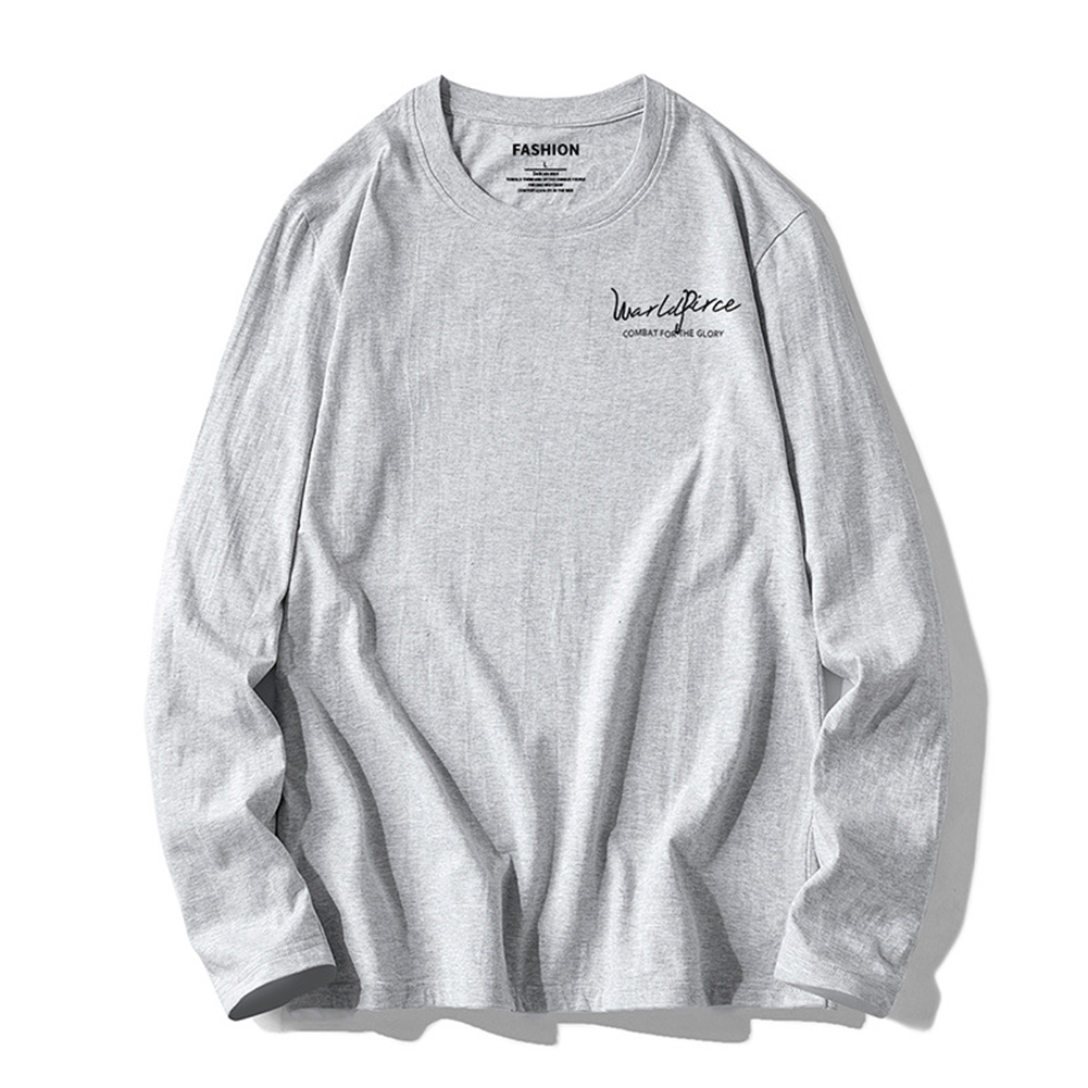 Men Autumn And Winter Long-sleeved Round Neck Solid Color Printed Cotton T-shirt Bottoming Shirt gray_XXXL