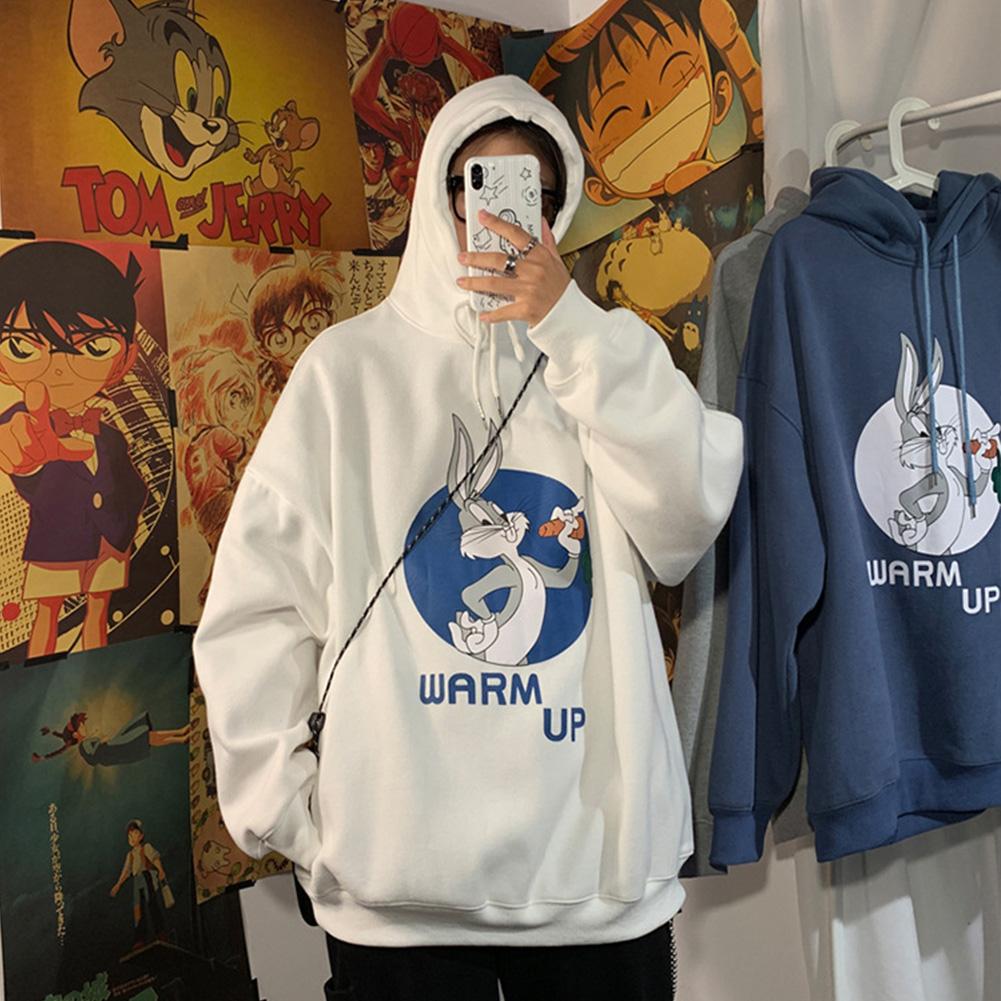 Men Women Hoodie Sweatshirt Cartoon Rabbit Printing Fashion Loose Pullover Casual Tops White_L