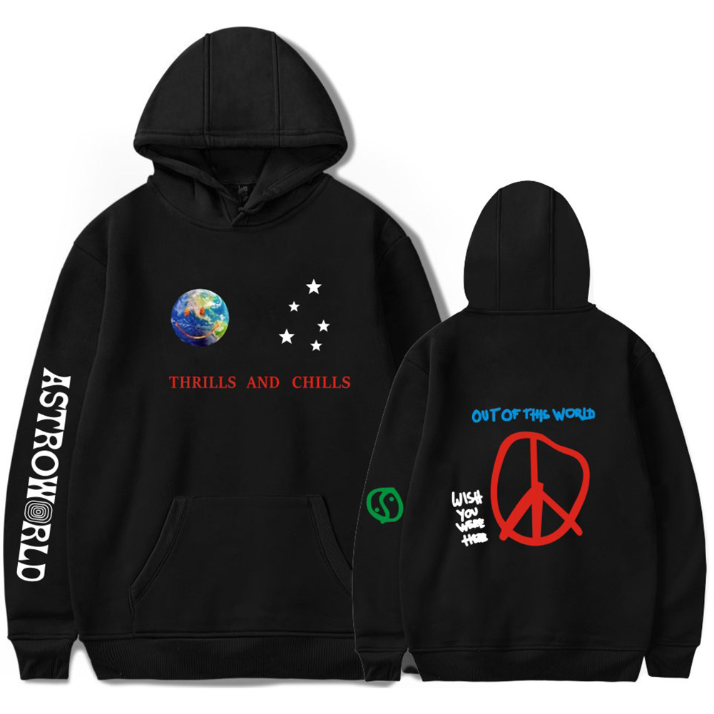 Travis Scotts ASTROWORLD Long Sleeve Printing Hoodie Casual Loose Tops Hooded Sweater E black_2XL