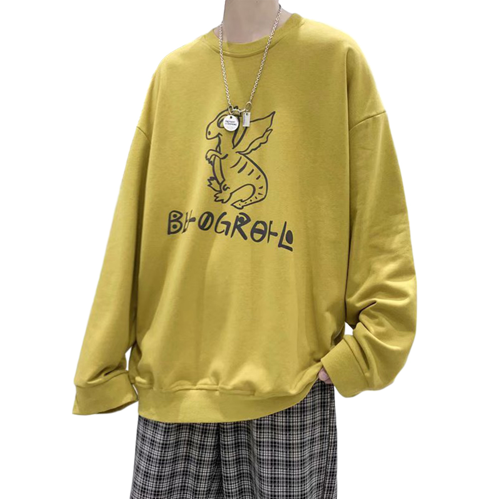 Men Sweatshirts Round Collar fashion Oversized  Small Dinosaur Print Long Sleeve Shirt Yellow_L