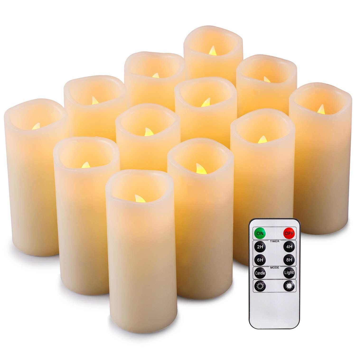 12Pcs LED Electronic Flameless Candles Lights with Remote Control for Party Wedding Decor Yellow light