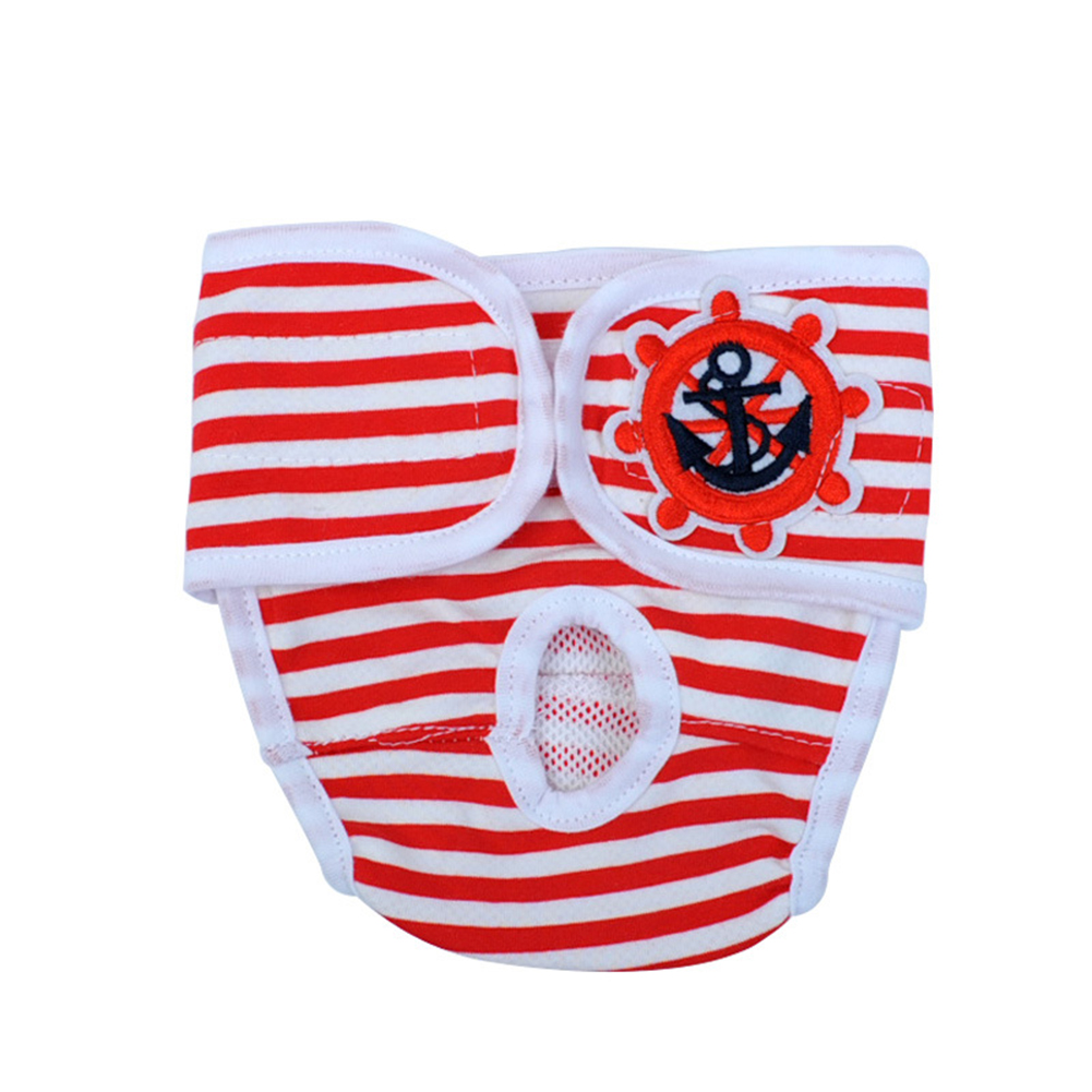 Cute Pet Dog Physiological Pants Sanitary Pants for Female Dog Underwear  Red and white stripe_M