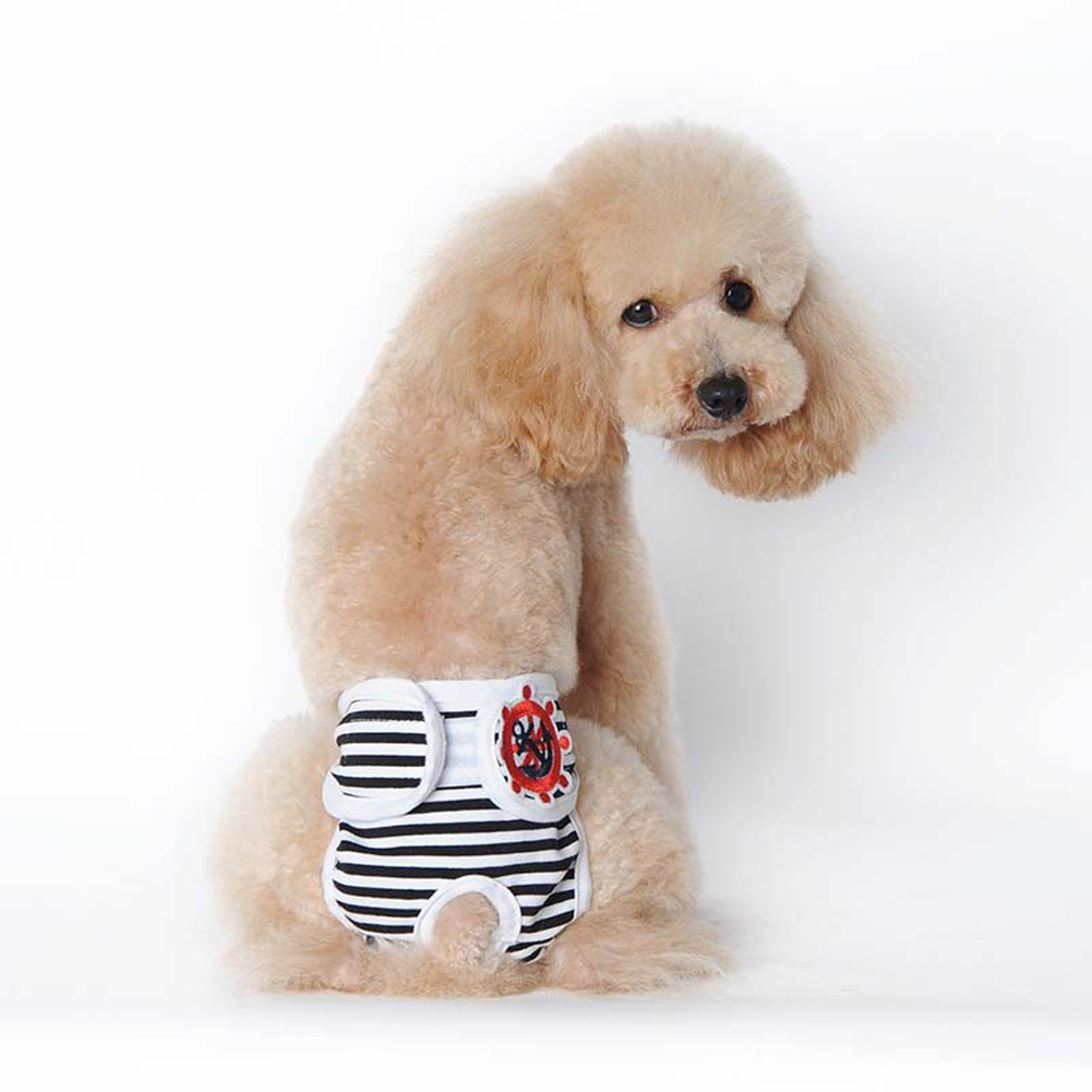 Cute Pet Dog Physiological Pants Sanitary Pants for Female Dog Underwear  Black and white strip_L