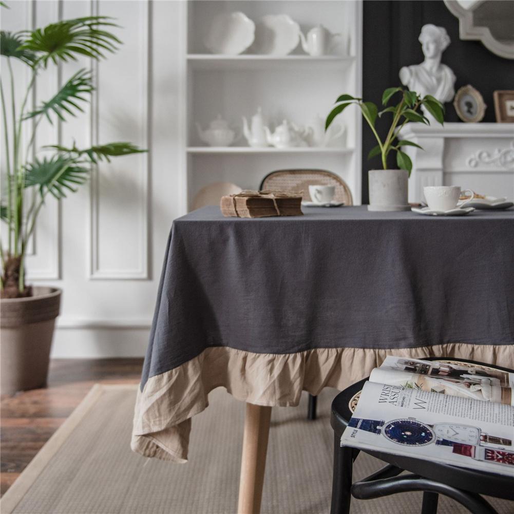Cotton Flounce Tablecloth For Home Picnic Camping Outdoor Table Cloth Decor Grey_140*180cm