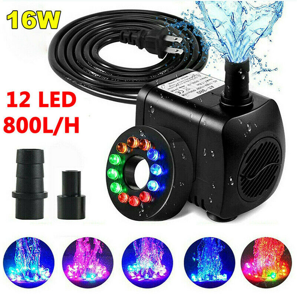 Submersible Water  Pump With 12 LED  Lights Fountain Pond Garden Fish Tank JYC-1550 (16W with L12 lamp) EU Plug