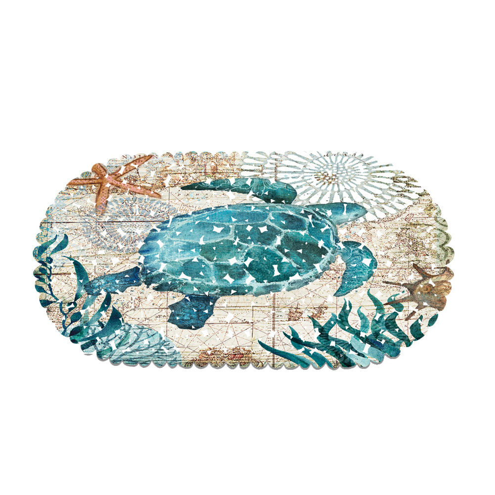Waterproof Safety Shower Bath Mat with Suction Cup Non-slip Floor Mat for Hotel Bathroom Bathtub Kitchen Pad Sea turtle_35 * 70CM
