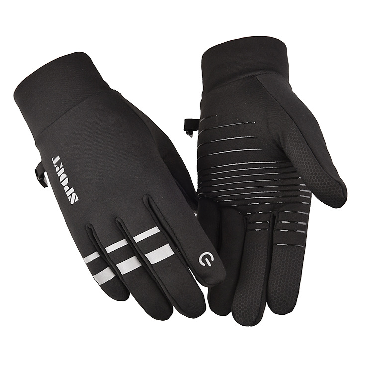 Cold-proof Ski Gloves Anti Slip Winter Reflective Windproof Gloves Cycling Fluff Warm Gloves For Touchscreen black_XL