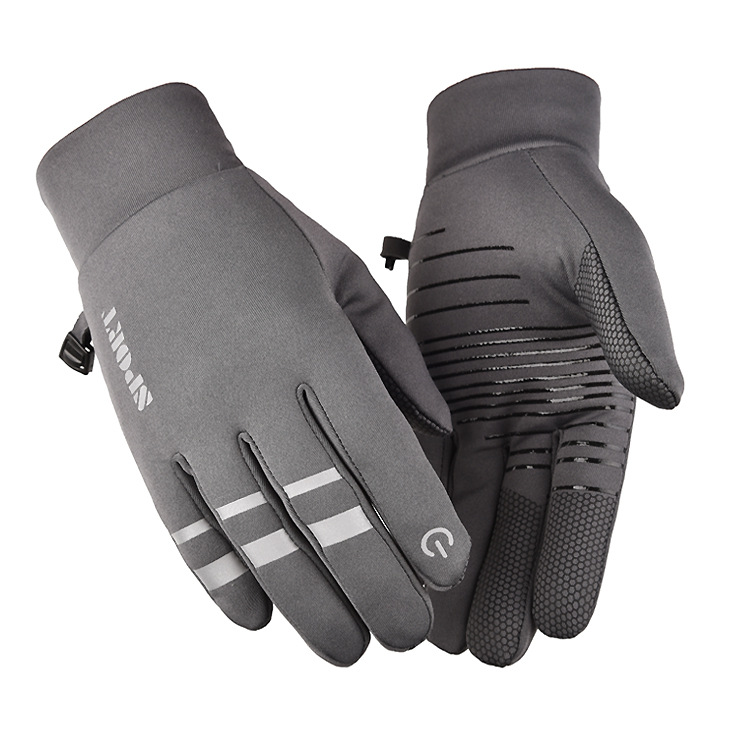 Cold-proof Ski Gloves Anti Slip Winter Reflective Windproof Gloves Cycling Fluff Warm Gloves For Touchscreen gray_M