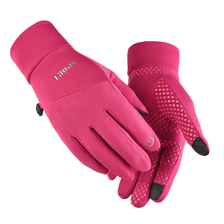 Cold-proof Ski Gloves Anti Slip Winter Waterproof Windproof Gloves Cycling Fluff Warm Gloves For Touchscreen Pink_L