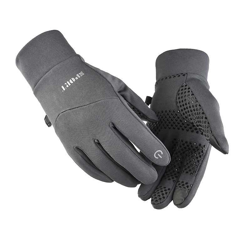 Cold-proof Ski Gloves Anti Slip Winter Waterproof Windproof Gloves Cycling Fluff Warm Gloves For Touchscreen gray_L