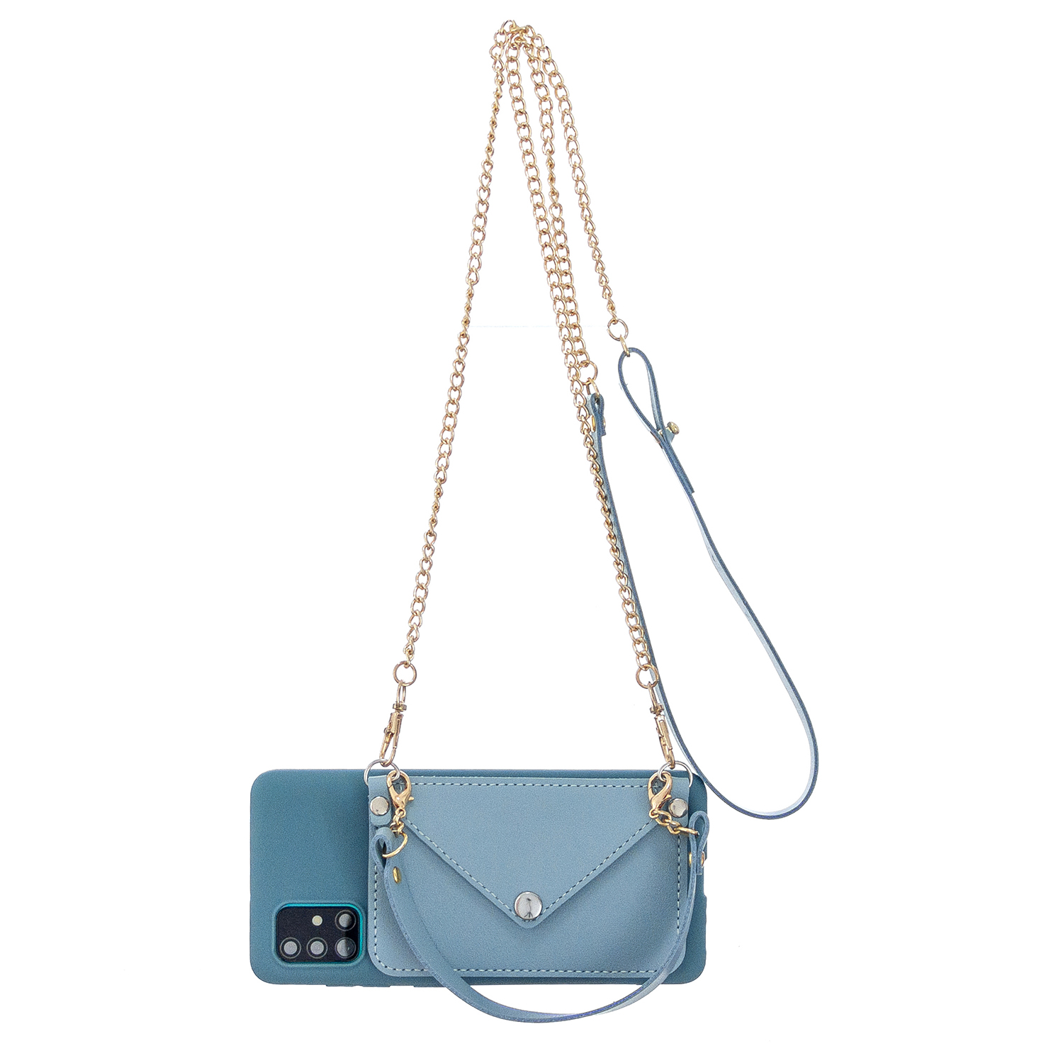 For HUAWEI P40/P40 Lite/P40 Pro Mobile Phone Cover with Pu Leather Card Holder + Hand Rope + Straddle Rope blue