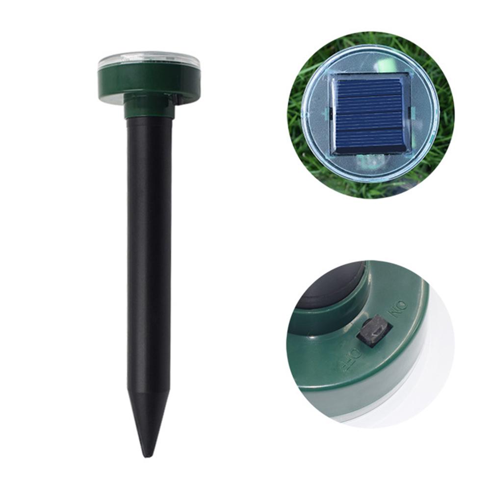 Outdoor Ultrasonic Pest Repeller Solar Power Garden Repellent Mole Snake Bird Mosquito Mouse Insect Control  black