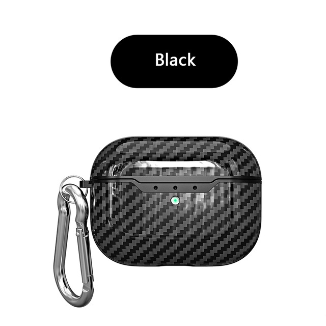 Earphone Protective Case for AirPods Pro Carbon Fiber Cover with Strip Pattern Portable Shell with Carabiner for Easy Carry Black