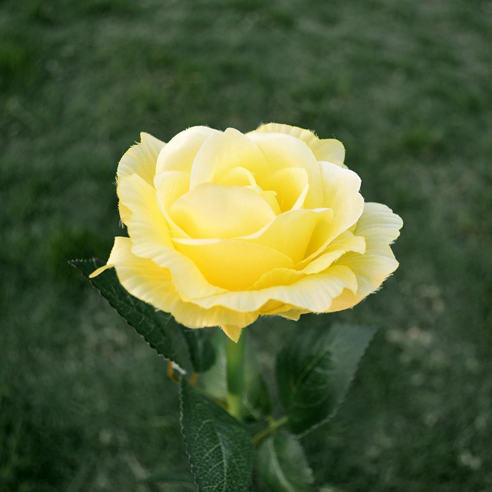 Simulate Solar-powered LED Rose Lawn Pin Lamp Landscape Light Festival Yard Garden Decoration yellow flower