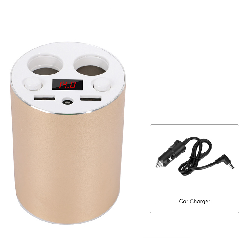 Explosion-Proof Dual USB Port Car Cup Charger with Dual 80W Cigarette Output,LED Display,45CM Cable