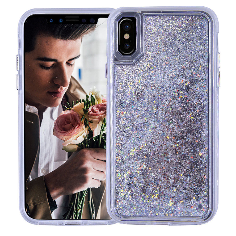 Fashion Creative Ultra Slim Internal Flow Sand Full Protective Cover Back Shell for iPhone X