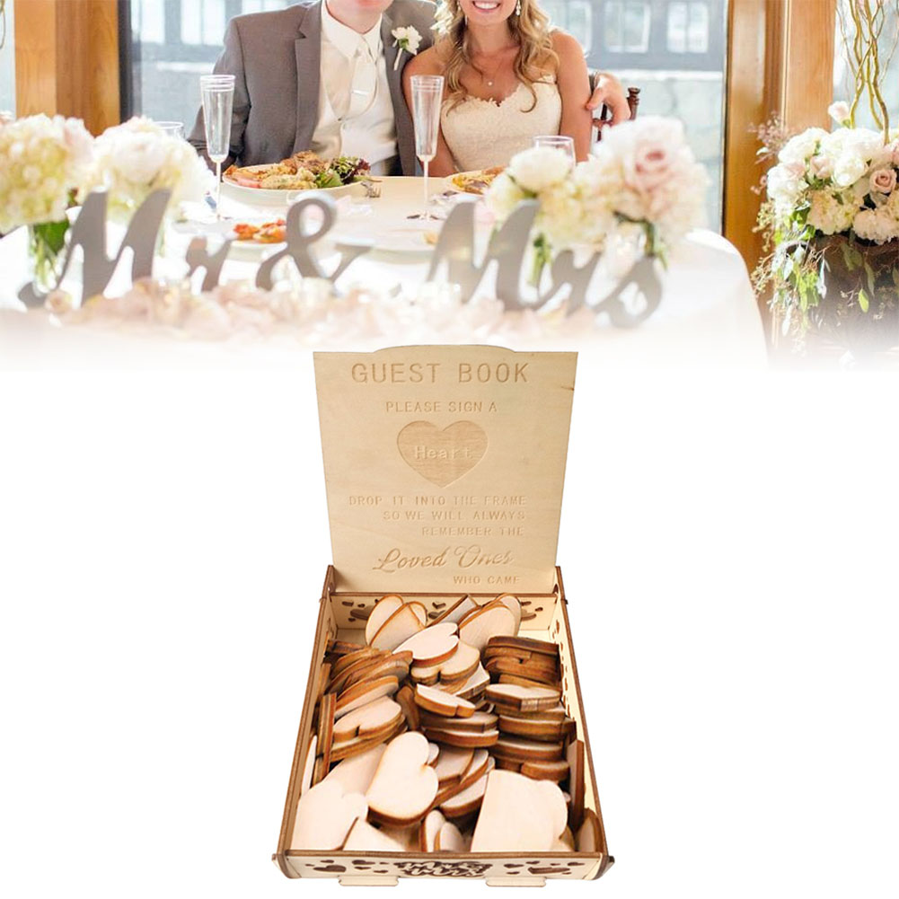 Wooden Wedding Signature Box for Guests Message Leaving Decoration(Not Including Wood Chip) JM01633
