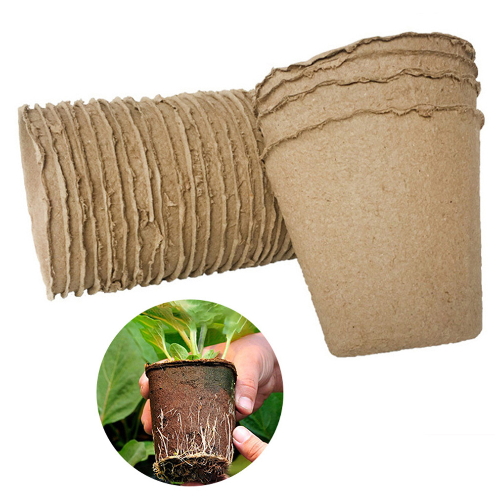 Garden Supplies Flowerpot Vegetable Fruit Pots 8*8CM Biodegradable Pulp Tool Nursery Cup 50pcs