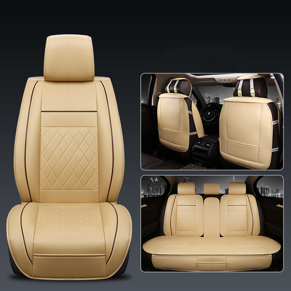 Universal All Car Leather Support Pad Car Seat Covers Cushion Accessories Warm beige standard single