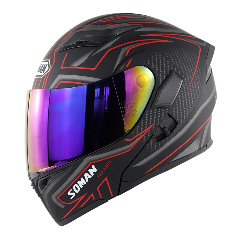 Cool Unisex Double Lens Flip-up Motorcycle Helmet Off-road Safety Helmet Line red with colorful  lens_M
