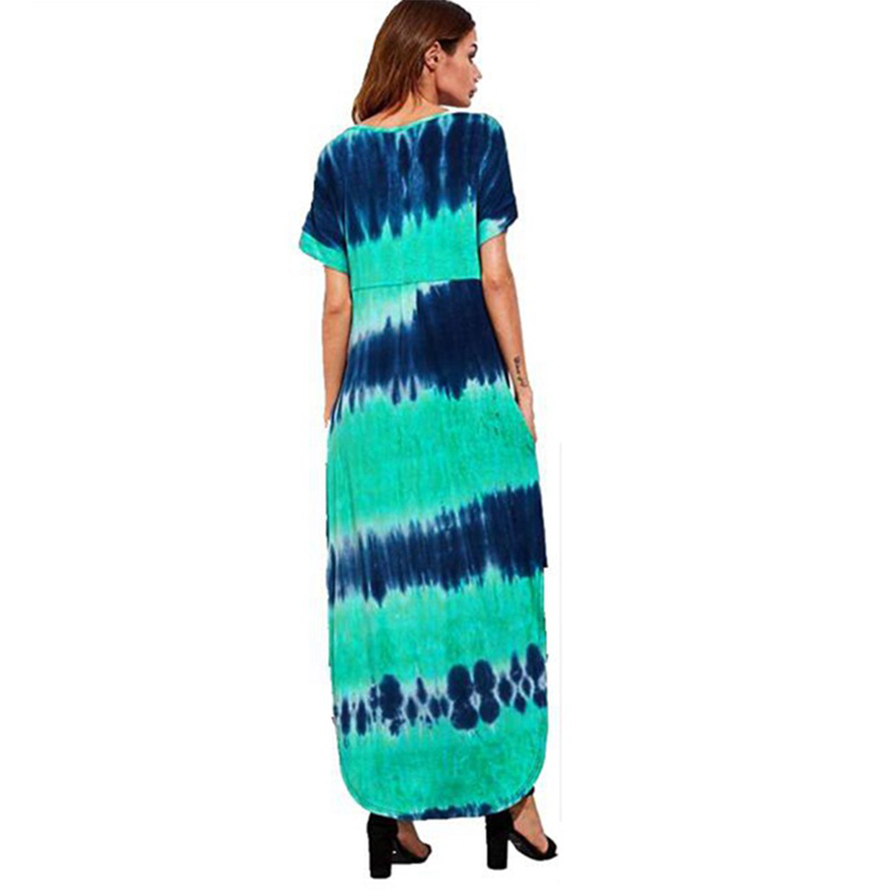 Woman Large Size Printing Tie-Dye Casual Short Sleeve Dress green_5XL