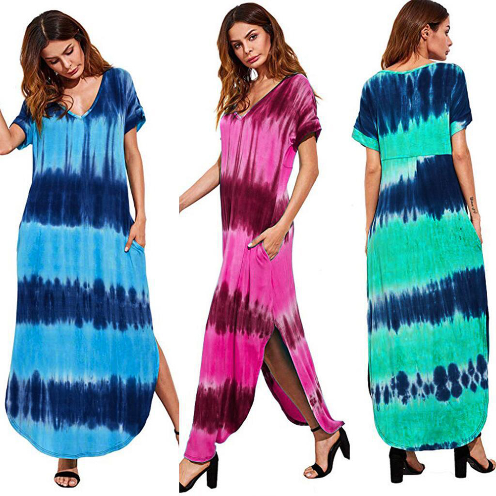Woman Large Size Printing Tie-Dye Casual Short Sleeve Dress Pink_XL