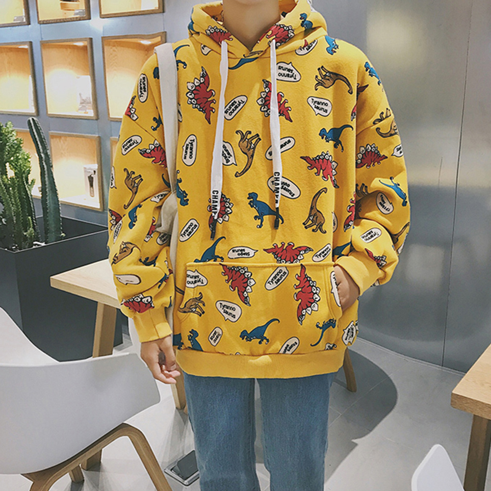 Fashion 3D Printing Loose Hooded Sweatshirts for Students Lovers Autumn Winter Wear yellow_XL