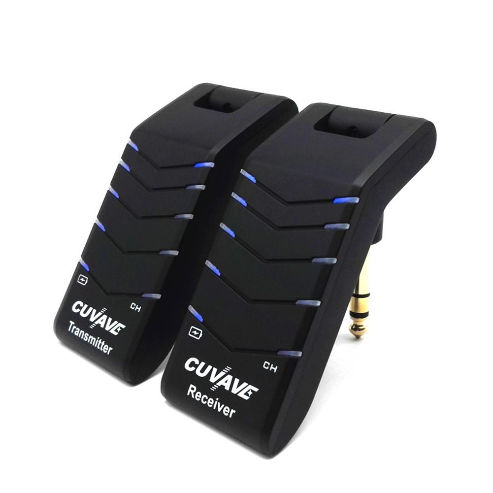 2 Pcs/Set WP-4 Guitar Wireless Transmitter Receiver U-Section Pickup Guitar Stereo Electric Guitar black