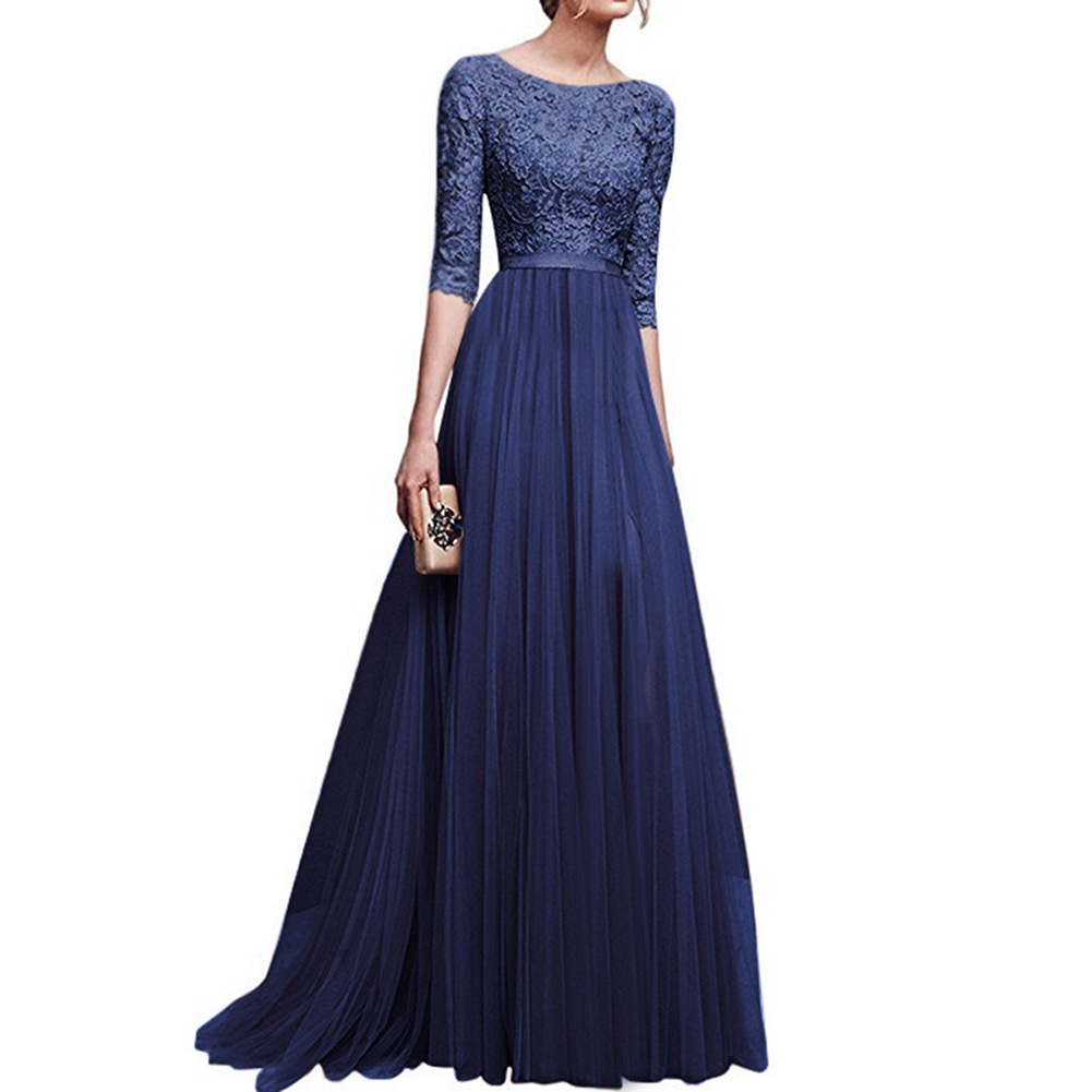 Women Delicate Chiffon Evening Dress Party Elegant Dresses Leisure Long Formal Dress blue_XXL