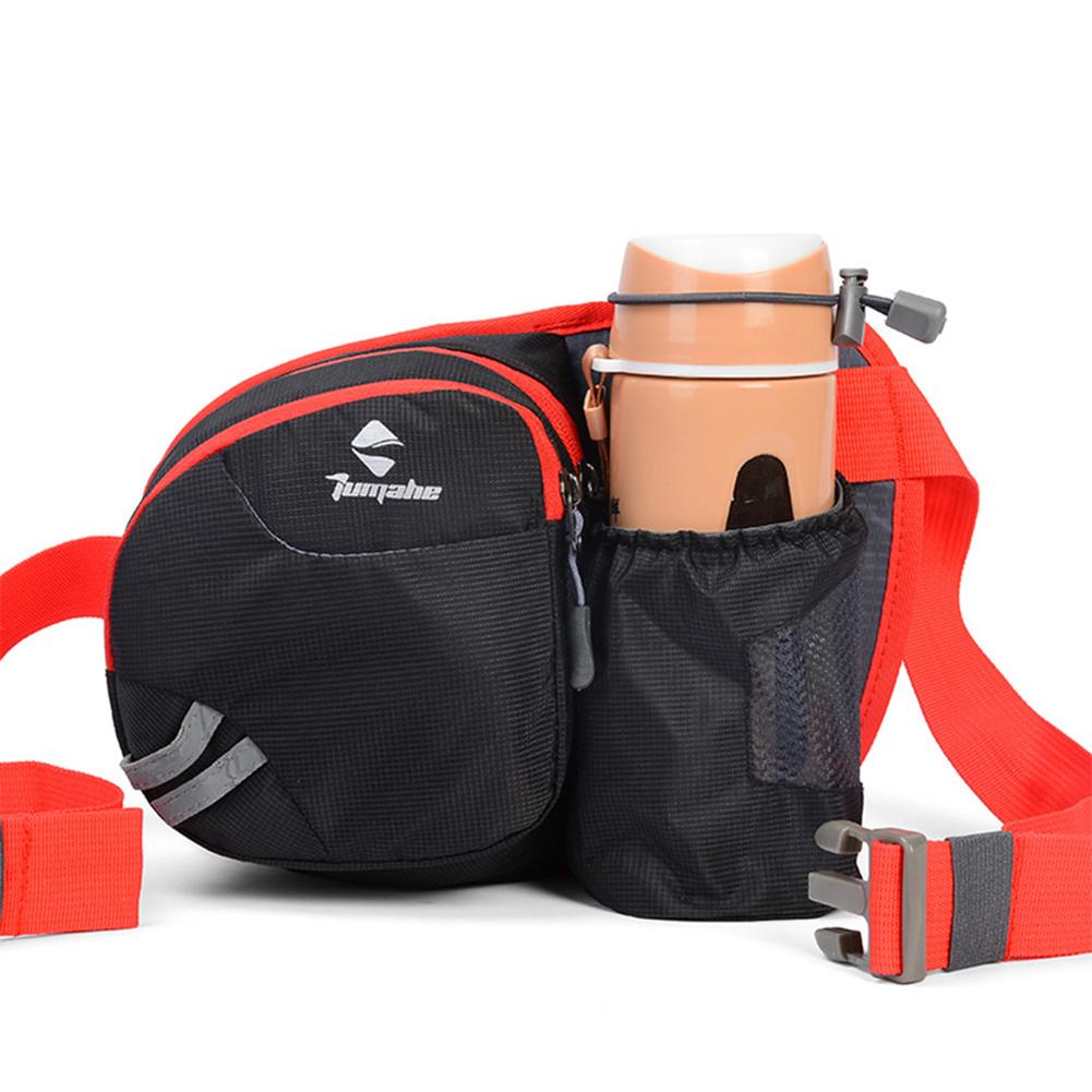 Men Women Multifunctional Running Waist Package Waterproof Nylon Bottle Bag  black
