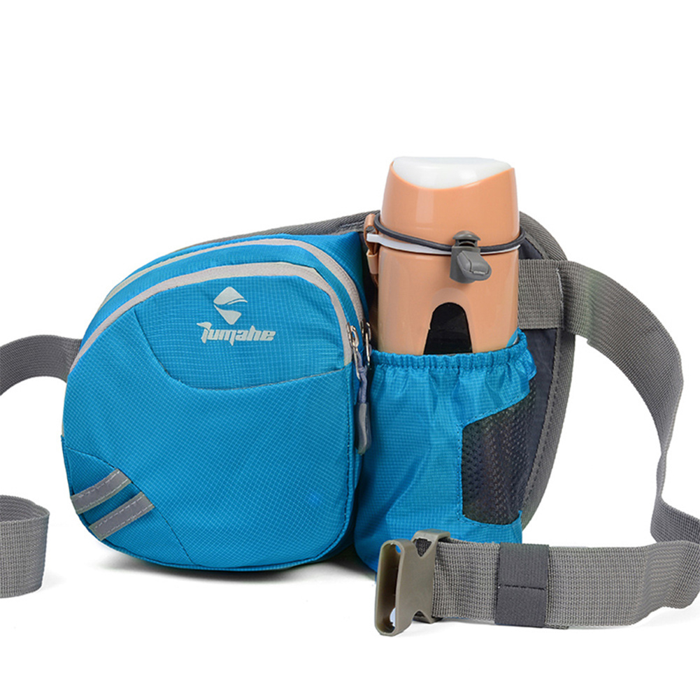Men Women Multifunctional Running Waist Package Waterproof Nylon Bottle Bag  blue