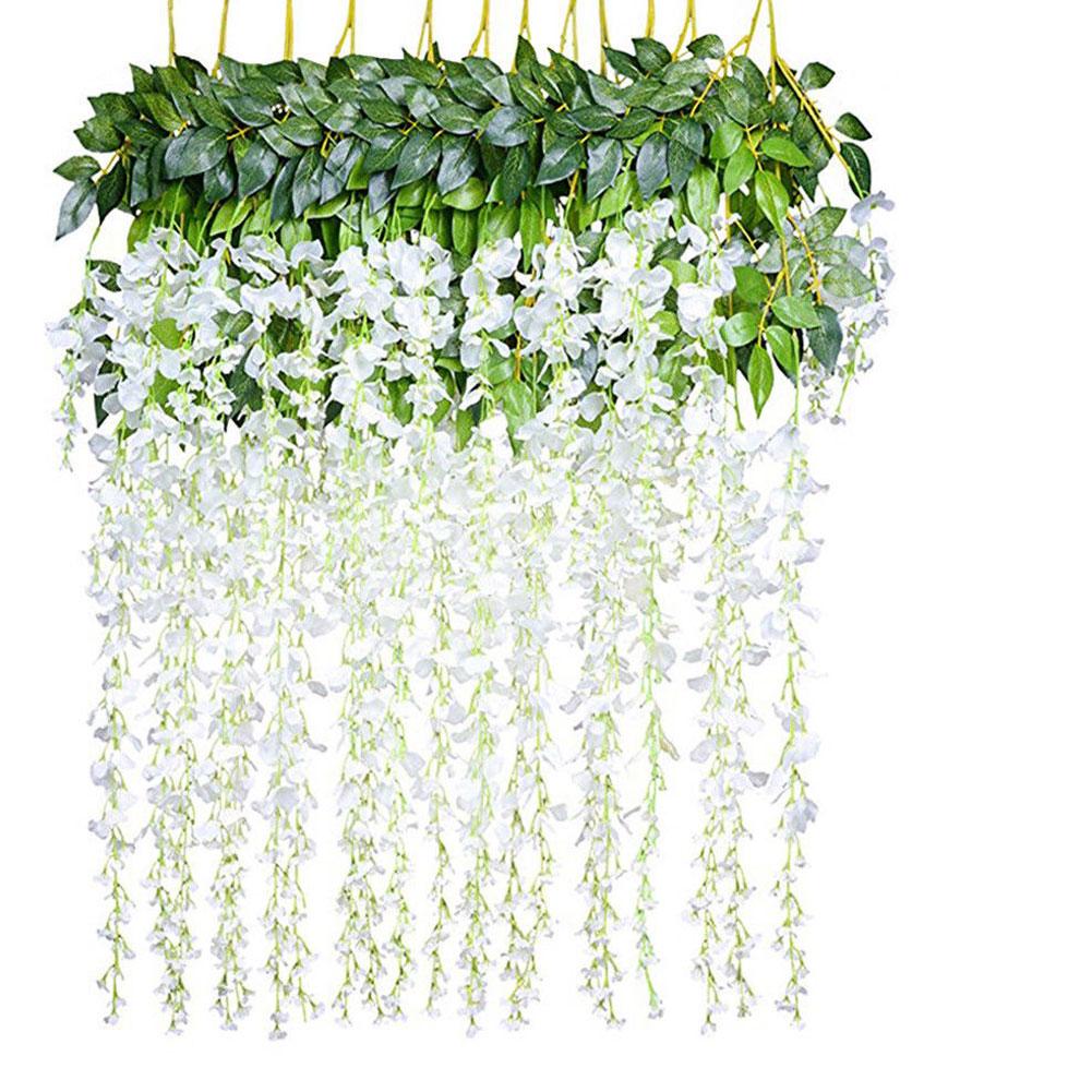 12Pcs/Set Artificial Silk Wisteria Leaf for Garden Room Wedding Decoration white