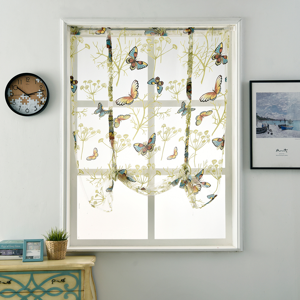 Butterfly Pattern Short Sheer Curtains Roman Blinds Tulle Curtains for Kitchen Window Door Decoration Butterfly_120*120cm 80G