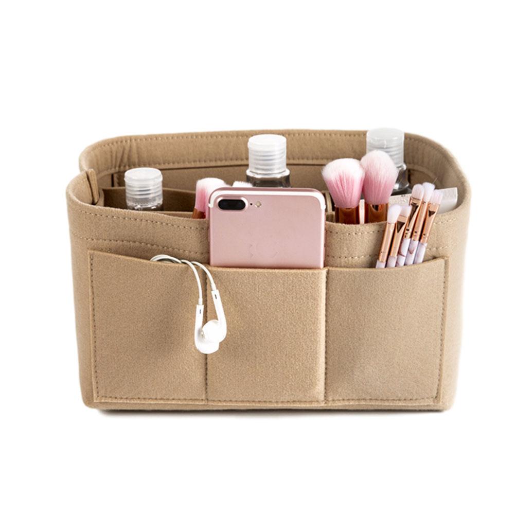 Make up Organizer Insert Bag for Handbag Travel Inner Purse Portable Cosmetic Bag Khaki_S:22*11*13cm