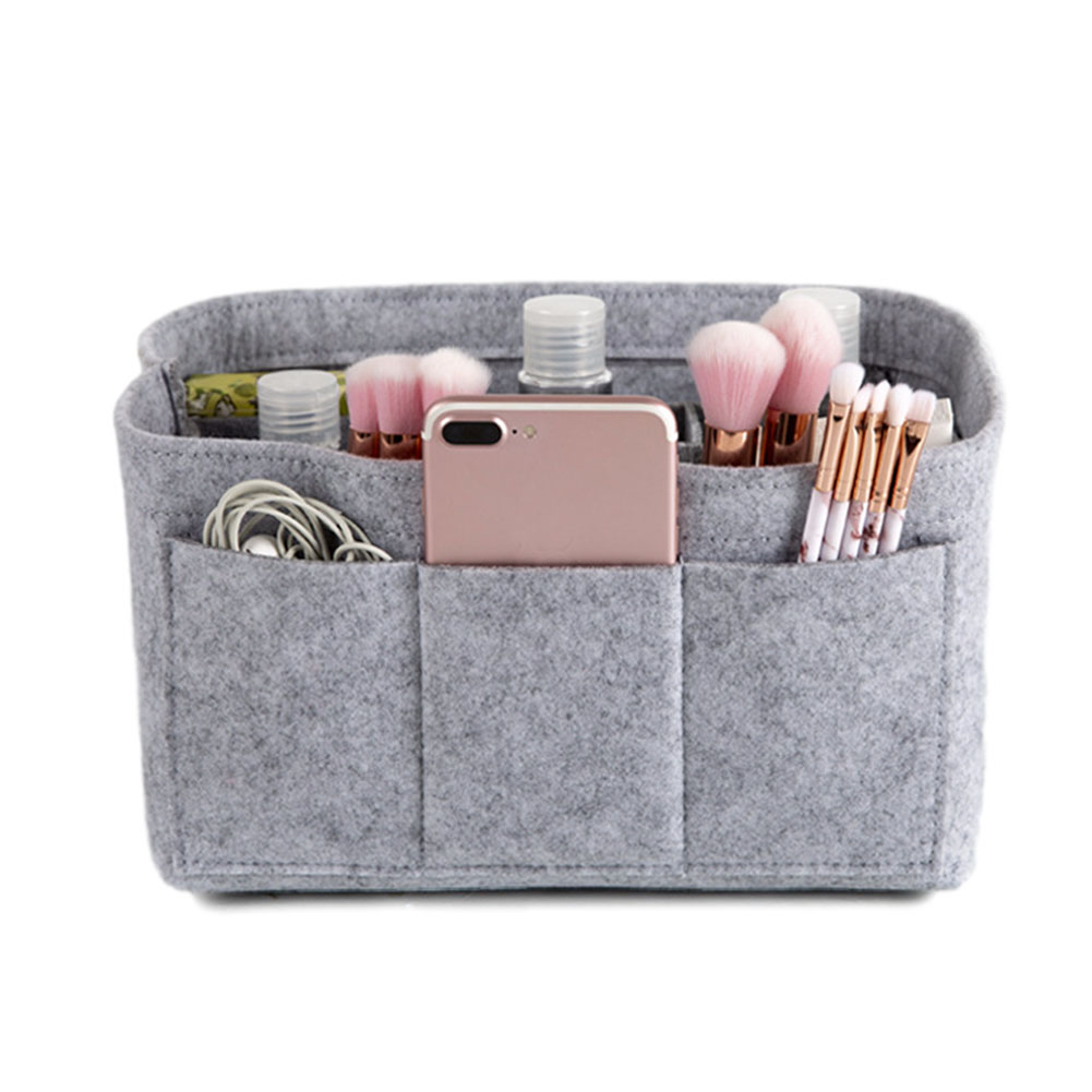 Make up Organizer Insert Bag for Handbag Travel Inner Purse Portable Cosmetic Bag  light grey_S:22*11*13cm