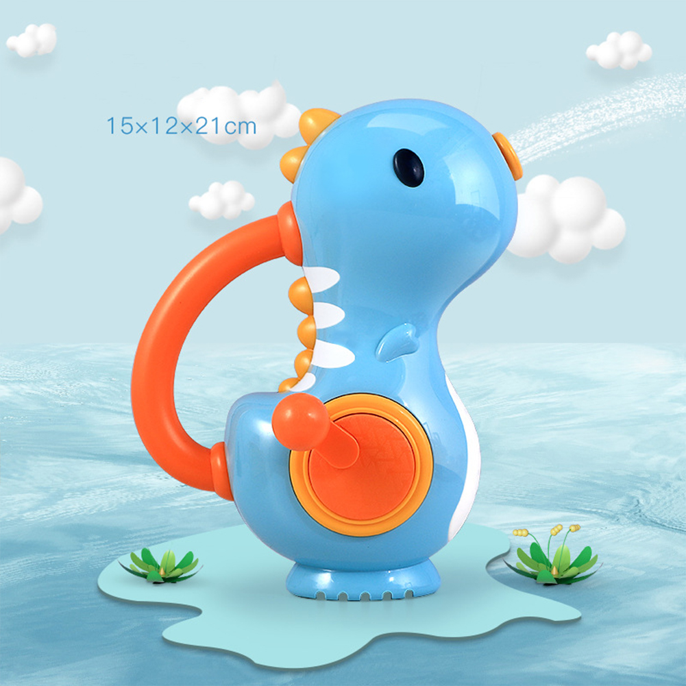 Baby  Bathing  Toy Hand-operated Water Jet Colorful Dinosaur Floating Bathtub Bathroom Toy Blue