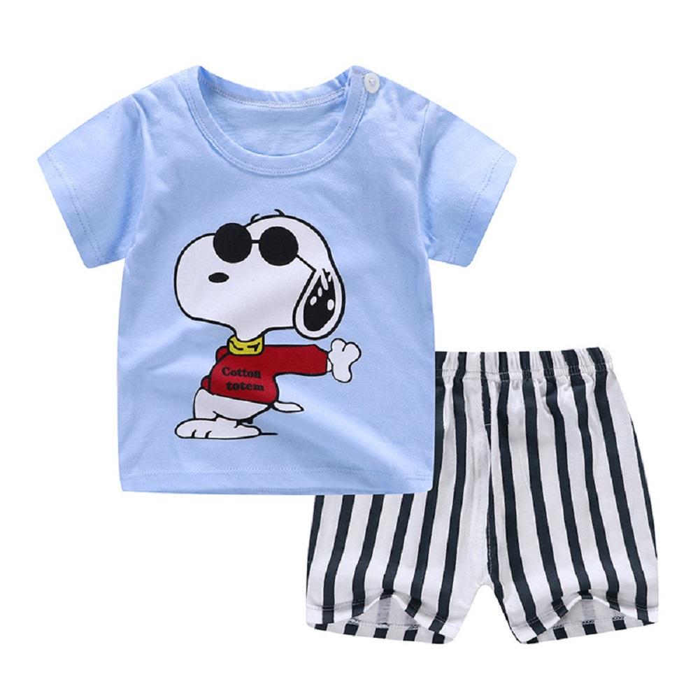 [Indonesia Direct] 2pcs/set Unisex Children Home Suit Short Sleeve Tops+ Shorts Home Wear Suit puppy_73
