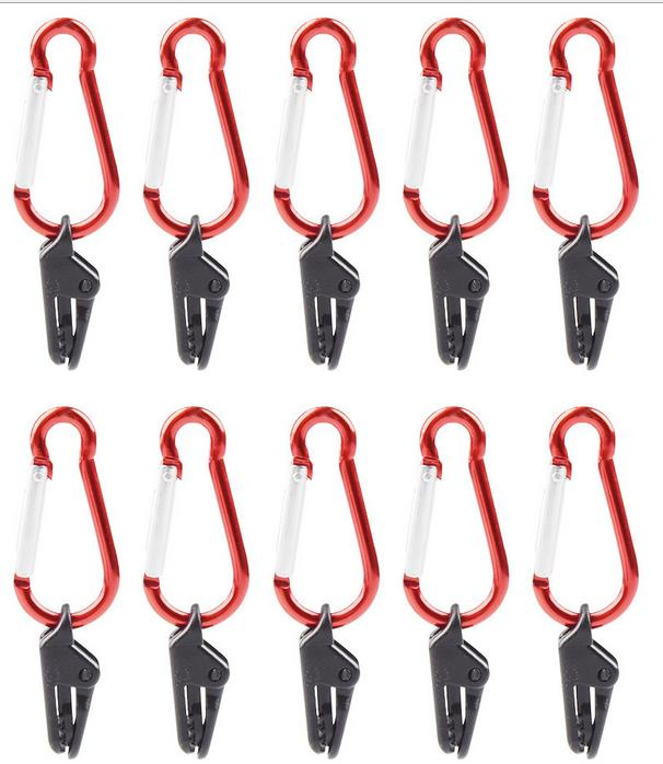 10 Pcs Tent Clip Awning Clamp Tarp Clips Snap Hangers Tent Camping Survival Tighten Tool Tent Accessory Outdoor Tool  clip + gourd hook_10pcs