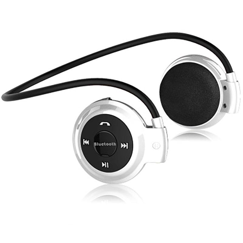 Wireless Bluetooth Headphones FM Radio Sport Music Stereo Earpics Micro SD Card Slot Headset white