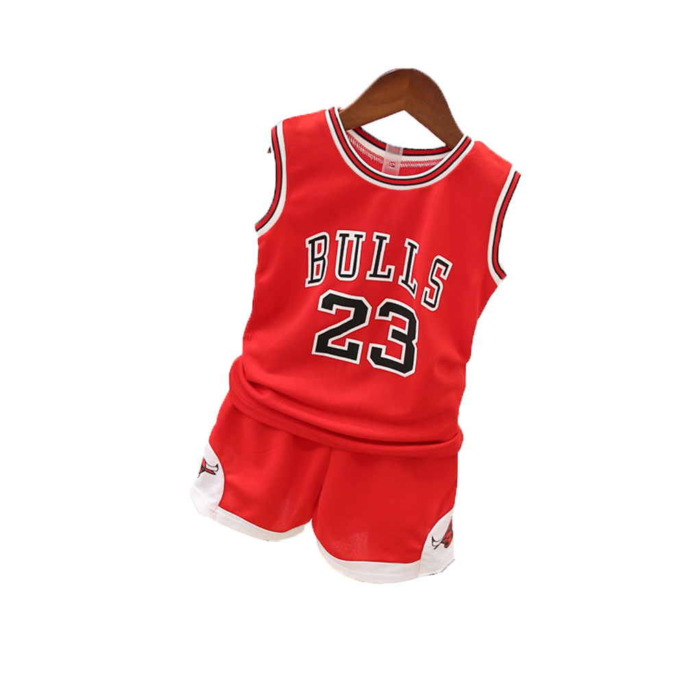 [Indonesia Direct] 2PCS/Set Unisex Children BULLS Letters Printing Sports Basketball Suit red_90cm