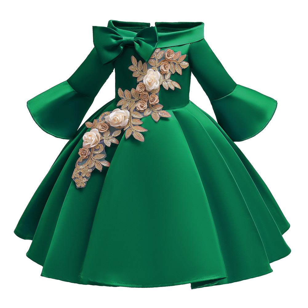 Kids Girls Princess Dress Middle Sleeve Embroidery Full Dress for Christmas New Year Party Wedding green_140